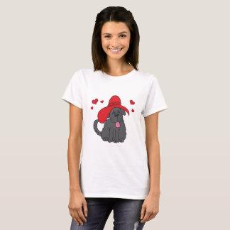 Chien de Terre-Neuve avec Red Hat de fantaisie T-shirt