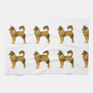 Chien de traîneau d'or de serviette de chien