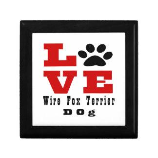 Chien Designes de Fox Terrier de fil d'amour Petite Boîte À Bijoux Carrée