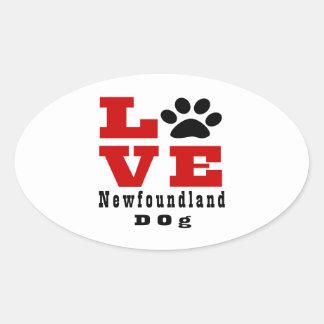 Chien Designes de Terre-Neuve d'amour Sticker Ovale