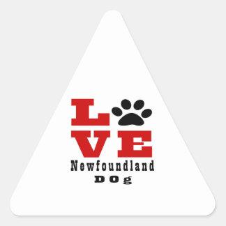 Chien Designes de Terre-Neuve d'amour Sticker Triangulaire
