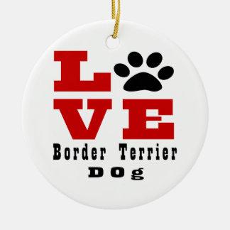 Chien Designes de Terrier de frontière d'amour Ornement Rond En Céramique