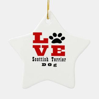 Chien Designes de Terrier d'écossais d'amour Ornement Étoile En Céramique