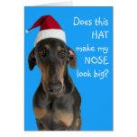 Chien drôle avec la carte de Noël de chapeau de Pè