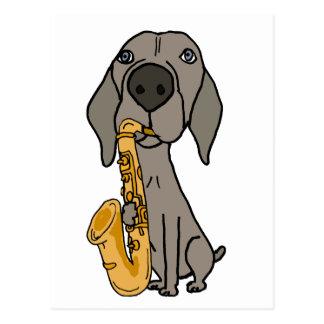 Chien drôle de Weimaraner jouant le saxophone Carte Postale