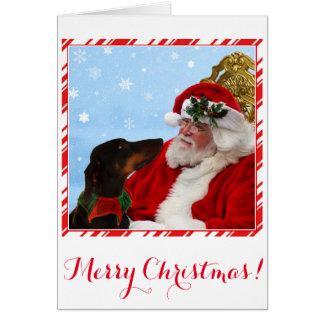 Chien drôle et mignon de dobermann, carte de Noël