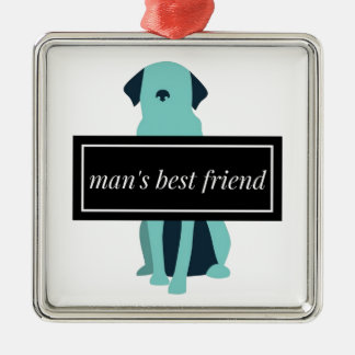 Chien du meilleur ami de l'homme ornement carré argenté