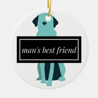 Chien du meilleur ami de l'homme ornement rond en céramique