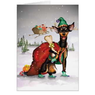 Chien Elf - carte de Noël de Pinscher miniature