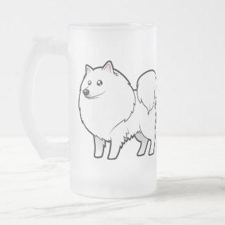 Chien esquimau américain de bande dessinée/Spitz Frosted Glass Beer Mug