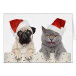 Chien et chat dans le chapeau rouge de Noël Cartes De Vœux