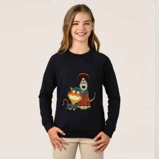 Chien et chat drôles de hippie sweatshirt