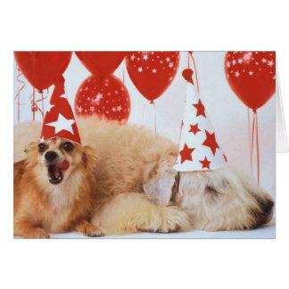 Chien et cotillons pour le nouvel an - cartes de vœux