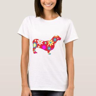 Chien floral génial de teckel t-shirt