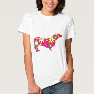 Chien floral génial de teckel t-shirts