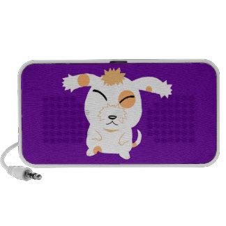 Chien hirsute mignon haut-parleurs iPod