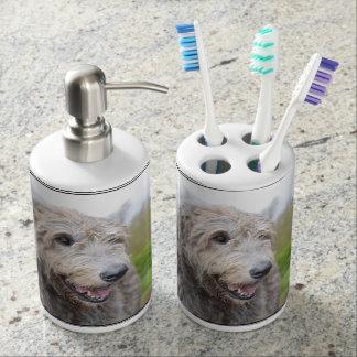 Chien-loup irlandais mignon sets de salle de bain