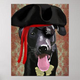 Chien noir de pirate de Labrador Poster