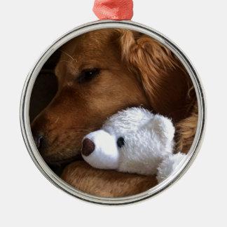 chien ornement rond argenté