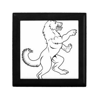 Chien ou loup dans le manteau effréné héraldique petite boîte à bijoux carrée