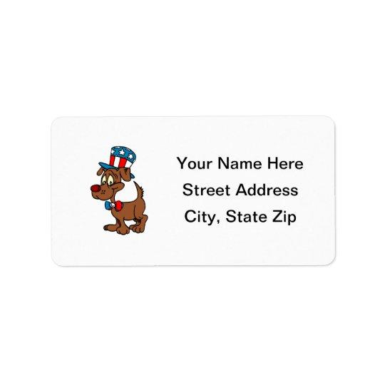 Chien patriotique étiquette d'adresse