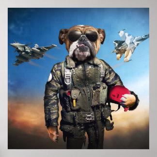 Chien pilote, bouledogue drôle, bouledogue posters