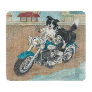 Chien sur la planche à découper de moto
