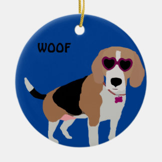 Chien tricolore moderne de beagle ornement rond en céramique
