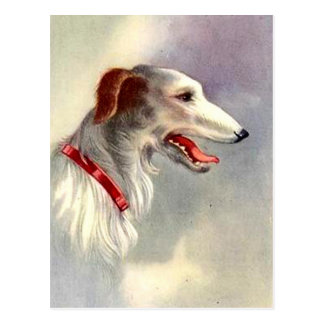 Chien vintage de barzoï de conception d'art carte postale