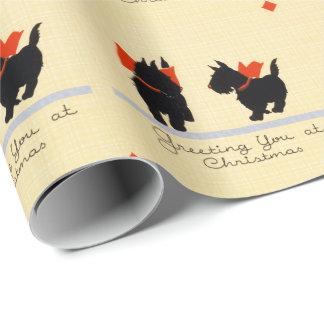 Chien vintage de Terrier d'écossais de Noël Papier Cadeau