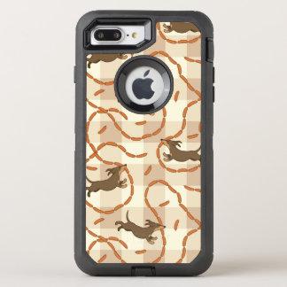 chiens chanceux avec l'arrière - plan de saucisses coque otterbox defender pour iPhone 7 plus