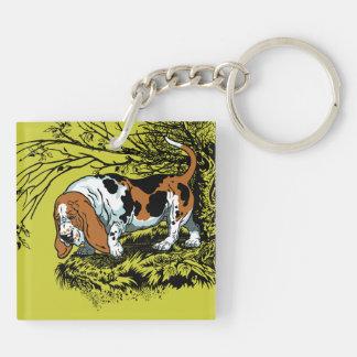 chiens de chasse porte-clé carré en acrylique double face