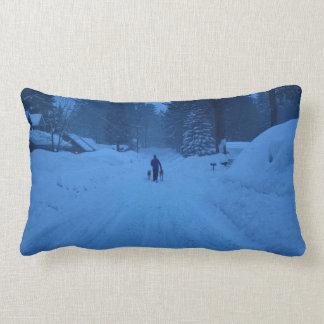 Chiens de marche dans le coussin de neige