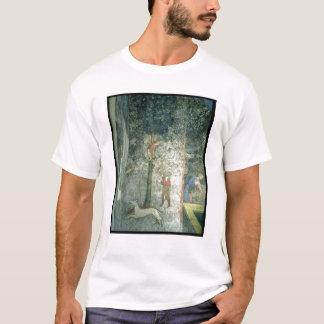 Chiens et hommes de chasse grimpant à un arbre t-shirt