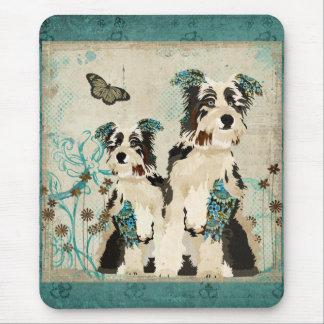 Chiens floraux bleus vintages Mousepad Tapis De Souris