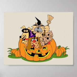 Chiens heureux de Halloween en citrouille Posters