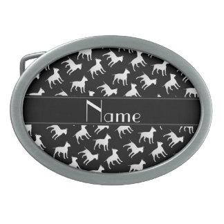 Chiens noirs nommés personnalisés de bull-terrier boucles de ceinture ovales