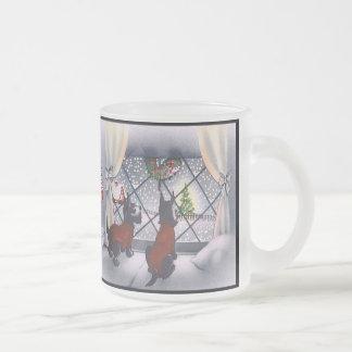 Chiens patriotiques de Scottie de Noël vintage Mug En Verre Givré