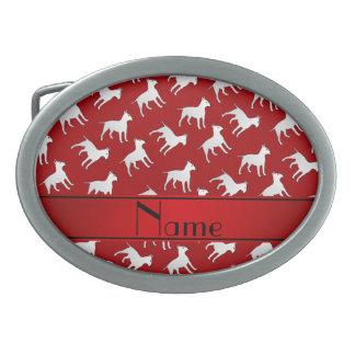 Chiens rouges nommés personnalisés de bull-terrier boucle de ceinture ovale