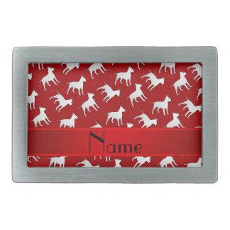 Chiens rouges nommés personnalisés de bull-terrier boucle de ceinture rectangulaire