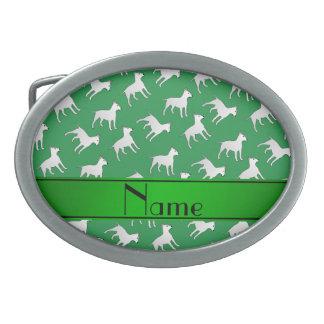 Chiens verts nommés personnalisés de bull-terrier boucles de ceinture ovales