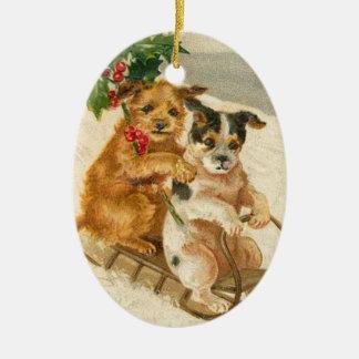 Chiens vintages sur un ornement de Noël de