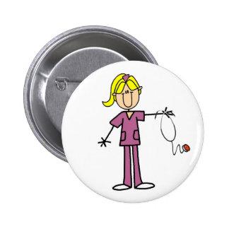 Chiffre blond bouton de bâton d'infirmière pin's