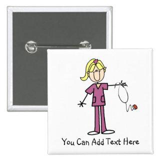 Chiffre blond customisé bouton de bâton d'infirmiè badge avec épingle