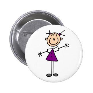 Chiffre bouton de bâton de fille badges