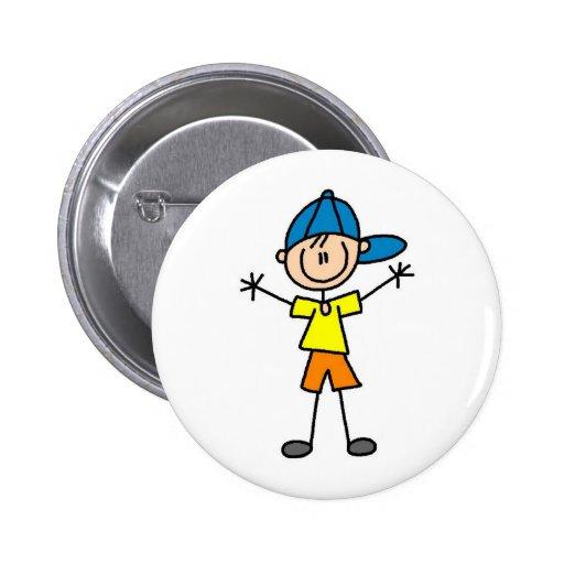 Chiffre bouton de bâton de garçon pin's avec agrafe