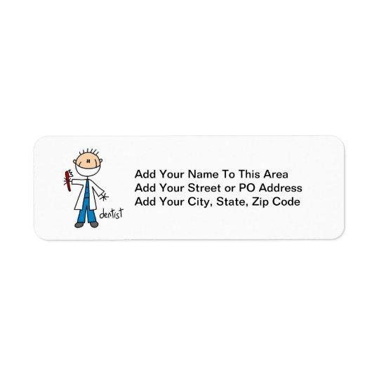 Chiffre de bâton de dentiste étiquette d'adresse retour