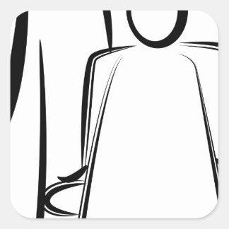 Chiffre dessin de bâton de coiffeur sticker carré