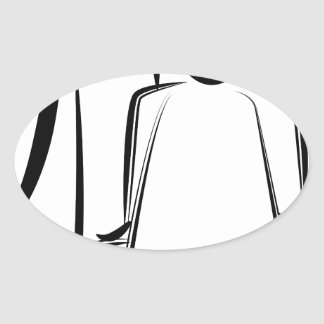 Chiffre dessin de bâton de coiffeur sticker ovale