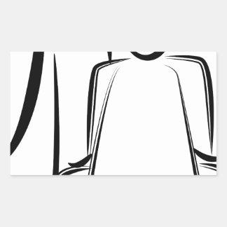 Chiffre dessin de bâton de coiffeur sticker rectangulaire